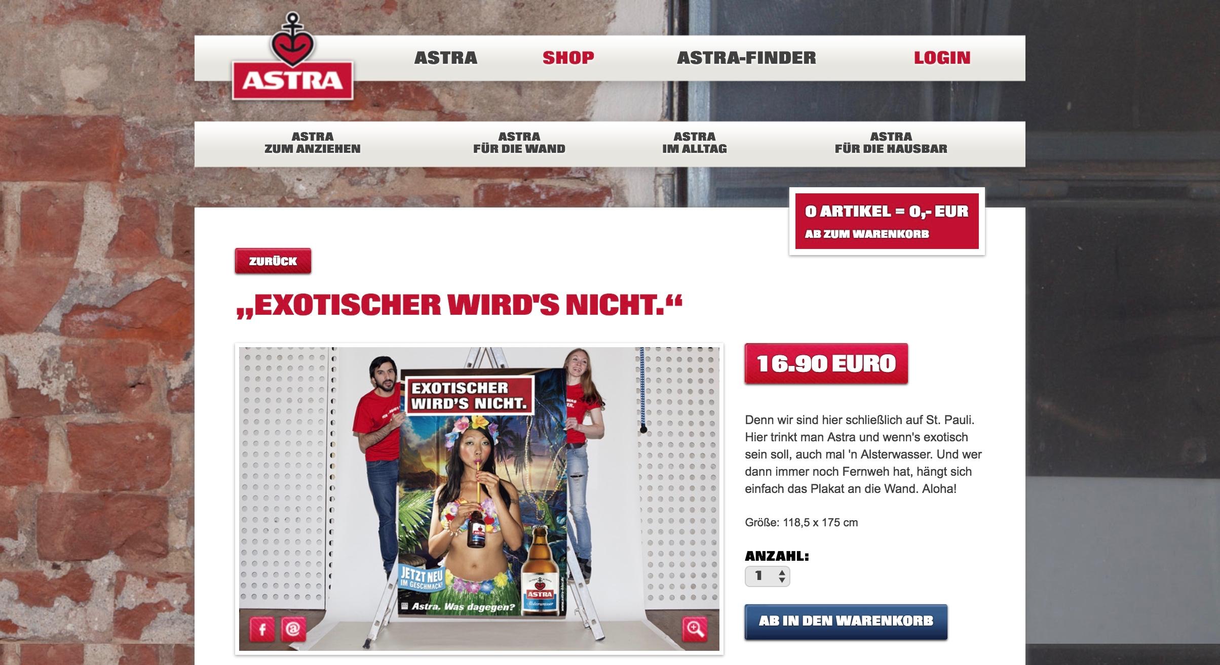 Astra Online Shop Plakat Exotischer wird's nicht
