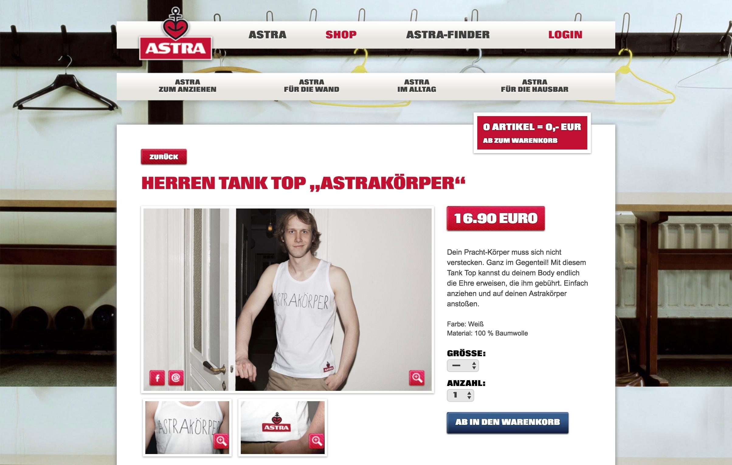 Astra Online Shop Tank Top Astrakörper