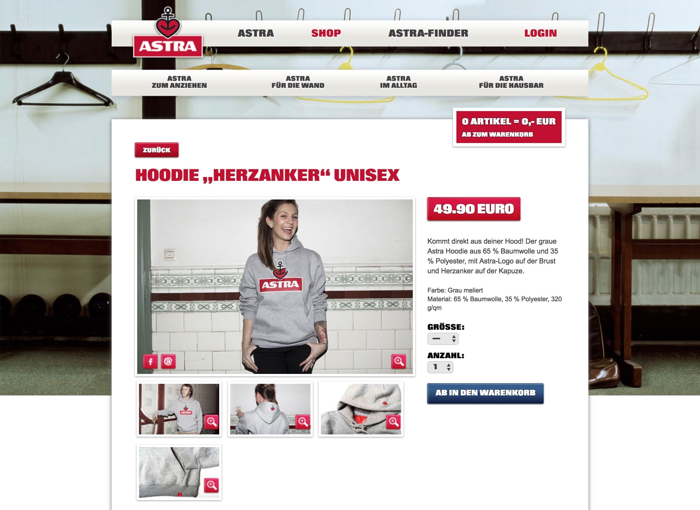 Astra Online Shop Hoddie Herzanker Unisex
